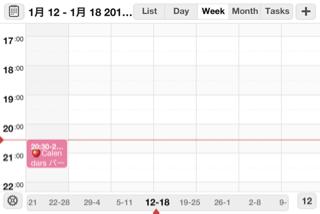 Calendars 3.0 横画面の週ビュー
