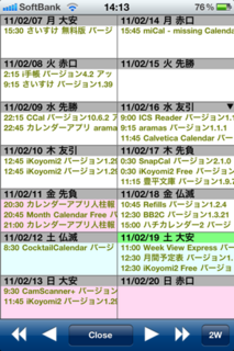 iKoyomi2 1.29 2週表示