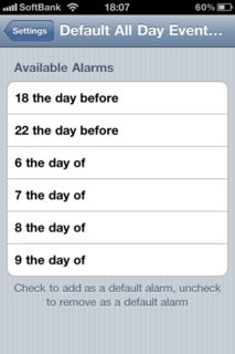 Default All Day Event Alarms