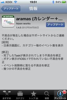 aramas 1.4.5 アップデート